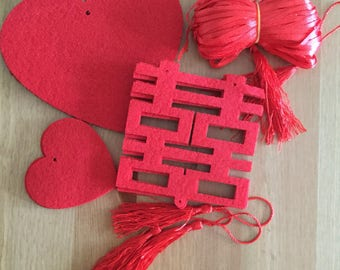 Chinese wedding decorations, Double Happiness Red felt cut outs, Design your own