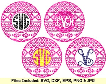 Circle monogram svg Aztec svg pillow blanket font tribal monogram frame svg files for Cricut Silhouette shirt stencil dxf cut file