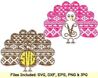Aztec turkey monogram frame svg files for cricut silhouette christmas thanksgiving fall halloween svg design mug decor clipart dxf cut files