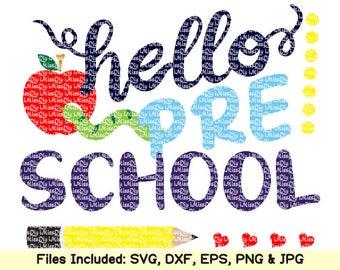 Hello preschool svg files for Cricut Silhouette teacher back to 1st first day of school preschool Kindergarten svg shirt design dxf cut file