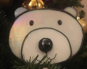 Stained Glass Polar Bear Ornament