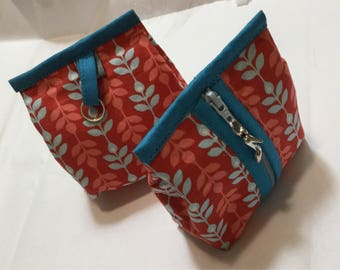 bellows - red and blue foliage pattern purse