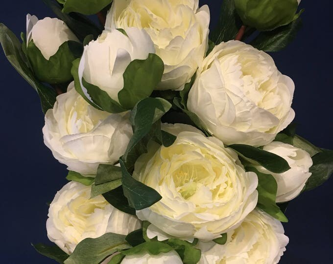 Single stem white peonies