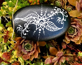 Silver Mehndi Painted Rock