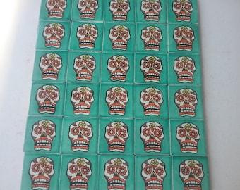 MEXICAN TALAVERA TILES X 30 ( 5cm x 5cm each ) Day of the Dead