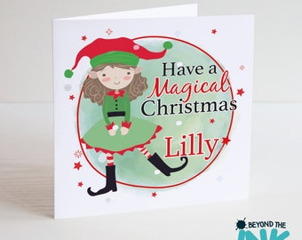 Personalised Elf Christmas Card - Children Christmas Card - Elf Child