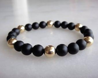 18k solid gold bracelet and black onyx beads / 18 carat gold onyx bracelet black onyx bracelet genuine gold bracelet for men for women