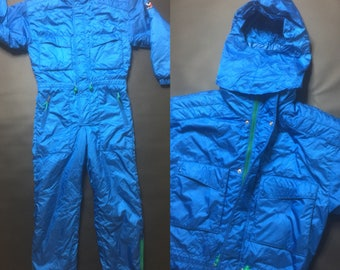 Millet Ski/Snowboard Full Blue Jumpsuit Snow Gear with Removable Full Face Mask