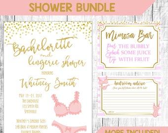 Lingerie Shower Invite, Bachelorette Shower Invitation, Pink & Gold Shower Invitation, Ring Hunt, Mimosa Bar Sign, Bachelorette Games