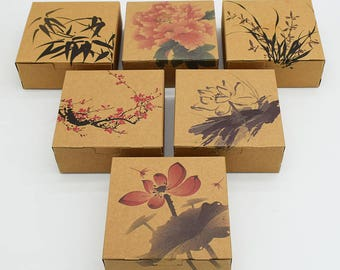 30pcs/lot 12*12*4.8cm  Brown Kraft Paper Packing Boxes Packaging for Candy Biscuit Chocolate Cookie Gift Box Party