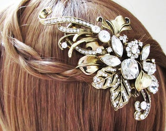 Large Gold Crystal and Rhinestone Hair Comb, Gold Bridal Hair Jewellery, Large Gold Wedding Hair Comb, Gold Crystal Hair Comb for Bride