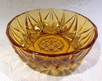 Vintage amber glass bowl cut amber glass bowl - cut diamond point diamond - star pattern - 1960s