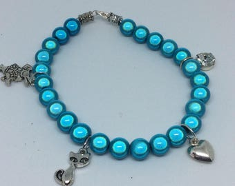 Beautiful blue illusion bead charm bracelet