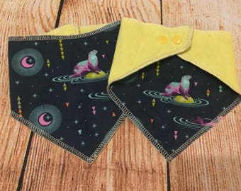 Set of Two Bandana Bibs, Baby Bibs, Toddler Accessories, Baby Accessories, Flannel and Cotton Bibs