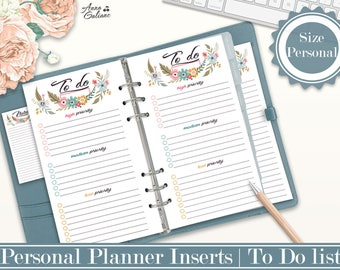To do List Printable, Printable to do list, Personal Planner Inserts, To do Insert, Filofax Personal, Filofax Personal, Kikki k Medium