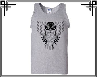 Abstract Owl Tank Abstract Owl Tank Top Owl Tank Animal Tank Men's Tank Men's Tank Top Men's Top & Tees Gift For Him