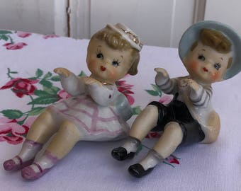 Vintage Ceramic Little Boy and Little Girl Figurine