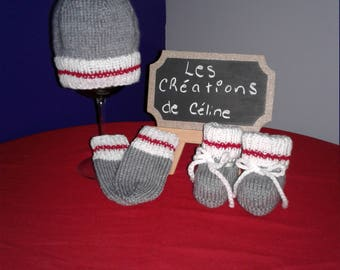 set hat, mittens and slippers