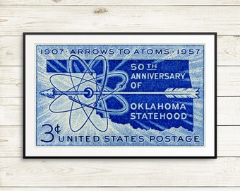 Oklahoma, Oklahoma statehood, Oklahoma art, Oklahoma posters, Oklahoma State, Oklahoma USA, Oklahoma artwork, vintage blue wall art, posters