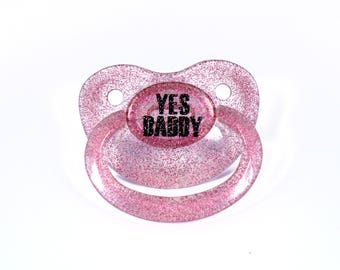 Yes Daddy custom adult pacifier in pink glitter - nuk 6 equivalent. Ddlg dummy