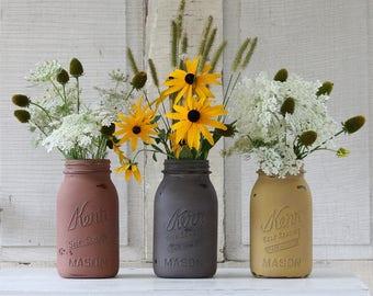 Vintage Mason jar Set, Distressed and Antiqued Mason Jars, Kerr Mason Jars, Fall Centerpiece, Fall Tablescape, Farmhouse Decor, Housewarming