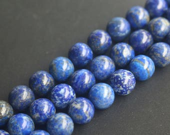 Natural Lapis Lazuli 4mm 6mm 8mm 10mm 12mm Smooth And Round Beads,15 Inch Full Strand