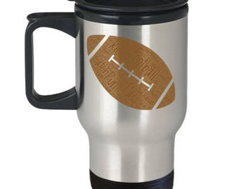 FOOTBALL Season!! Travel Mug! Are You Ready For Some NFL Football? NCAA Football? Insulated Stainless Steel Travel Coffee Mug With Lid