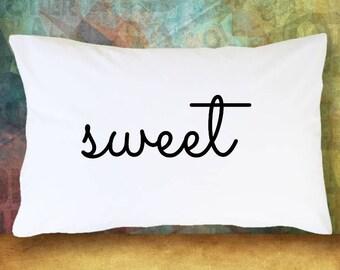 Set of 2 SWEET DREAMS Pillow Case Set of 2 Decorative Pillowcases Bedding Bedroom Guest Room Decoration Cute Decor