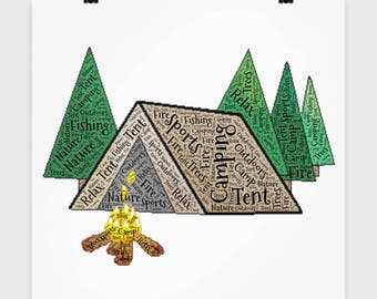 """16"""" x 16"""" Poster Camping Tent Campfire Nature Lover Poster Gift for Camp Hunt Fish Fanatic Dad Father  Wall Art Bedroom Poster"""