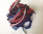 Art Fiber Bundle - Stormy Night, Weaving, Red, Blue, Black