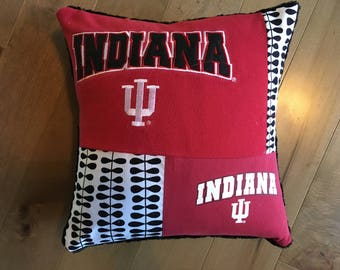 Indiana University Hoosiers Upcycled T-Shirt Pillow (16x16)