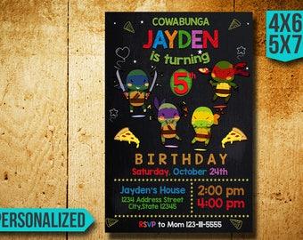 Ninja Turtle Invitation,Ninja Turtle Birthday Invitation,Ninja Invitation,TMNT Invitation,Ninja Birthday,TMNT Birthday,Ninja Turtle FF