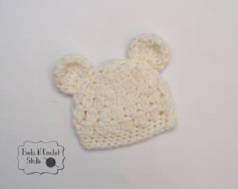 preemie hat, preemie beanie, preemie crochet hat, preemie crochet bear hat, preemie hospital hat, hospital hat, bear crochet hat, bear
