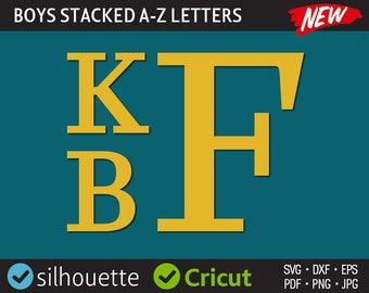 Stacked Font Svg Stacked Monogram Svg Cut Files Clamp Font Svg Dxf Silhouette Cricut Cuttable Initial Letters Iron On Heat Press Transfer