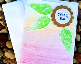 "Handmade ""Thank You"" Greeting Card - Leaves and Watercolor Card"
