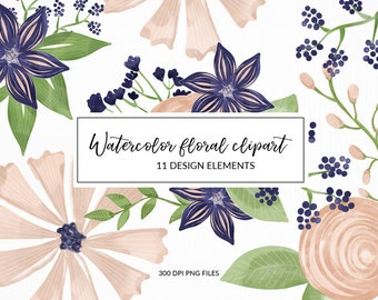 Watercolor flowers clipart , Hand draw clip art, High Resolution, Summer clipart, Digital Clipart, Instant Download, DIY Stickers