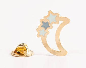 Brooch pin's Moon and stars gold filled