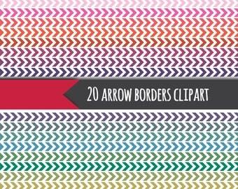 20 arrow borders, arrow border clipart, chevron clipart, chevron border clipart, digital arrow clipart, digital chevron border, bright color