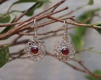 Silver Filigree Spiral Pink Garnet Drop Earrings