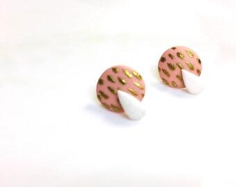 Polymer clay Jewlery of handmade earstuds - Tiny Tree   FIFI CLAY