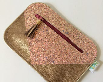 Bronze leather wallet and nude pink glitter fabric