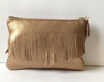 Copper soft lamb leather pouch/makeup case
