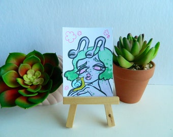Original Cute Snail Girl Artist Trading Card (ATC)