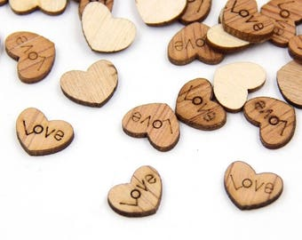"""100 PCS Mini Wood Heart Confetti """"Love"""", rustic, rustic decorations, rustic wedding, wedding supplies, engagement party, party"""