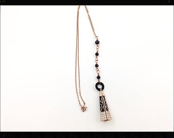 18 KT rose gold filled pendant necklace with black swarovski beads, crystals and black velveteen , Copper wired lariat necklace pendant