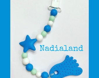 Silicone chain with teething toy/food silicone Teether in the shape of a foot/silicone bead/Chain