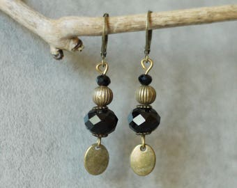 Earrings onyx and bronze charm