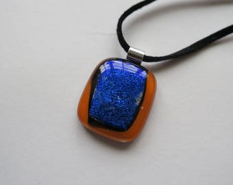 Orange and dichroic blue glass necklace