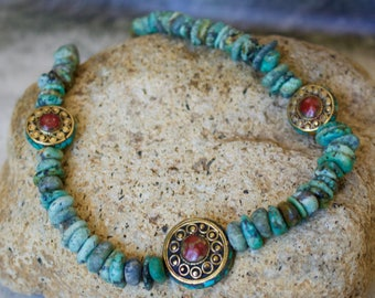 Turquoise with Tibetan Beads Necklace.