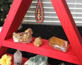Vibrant CORAL hanging pendant crystal display!